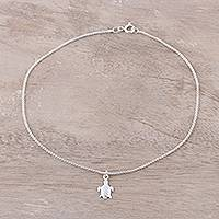 Sterling silver chain anklet, 'Joyful Turtle' - Sterling Silver Turtle Chain Anklet Anklet from India