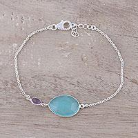 Chalcedony and amethyst pendant bracelet, 'Crystal Shimmer' - Sterling Silver Chalcedony and Amethyst Pendant Bracelet