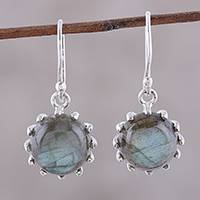 Labradorite dangle earrings, 'Evening Bloom' - Round Sterling Silver and Labradorite Dangle Earrings