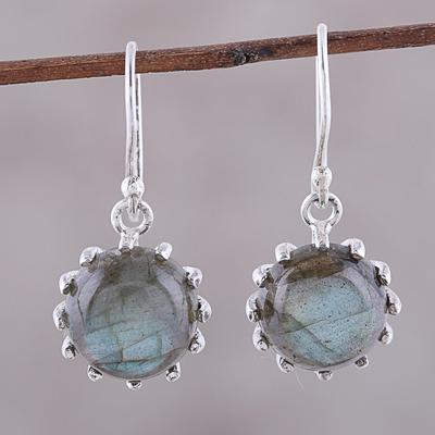 e7b63ad8bb Labradorite dangle earrings, 'Evening Bloom' - Round Sterling Silver and  Labradorite Dangle Earrings