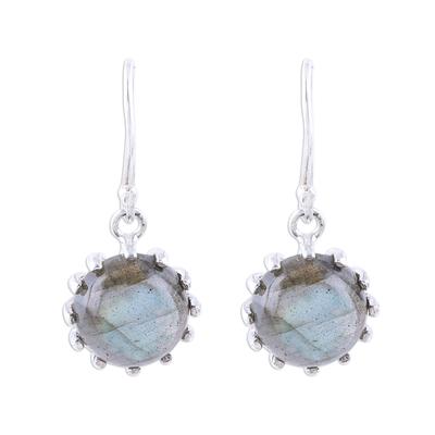 Labradorite dangle earrings, 'Evening Bloom' - Round Sterling Silver and Labradorite Dangle Earrings