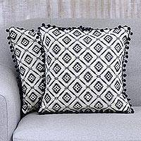 Cotton cushion covers, 'Delhi Diamonds' (pair) - Navy Blue Geometric Motif Cotton Cushion Covers (Pair)
