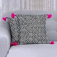 Cotton cushion covers, 'Bedazzle' (pair) - Two Black and White Geometric Motif Cotton Cushion Covers