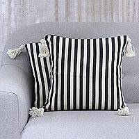 Cotton cushion covers, 'Delightful Stripes' (pair) - Pair of Woven Black and White Striped Cushion Covers