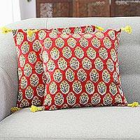 Cotton cushion covers, 'Floral Oasis in Crimson' (pair) - Floral Crimson Cotton Cushion Covers (Pair) from India
