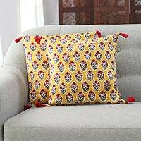 Cotton cushion covers, 'Floral Oasis in Ochre' (pair) - Floral Ochre Cotton Cushion Covers (Pair) from India