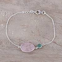 Rose quartz and aventurine pendant bracelet, 'Crystal Shimmer' - Sterling Silver Rose Quartz and Aventurine Pendant Bracelet