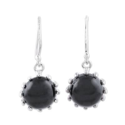 Onyx dangle earrings, 'Darkest Bloom' - Round Sterling Silver and Onyx Dangle Earrings from India