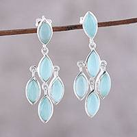 Chalcedony chandelier earrings, 'Aqua Marquise'