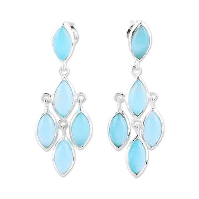 Chalcedony chandelier earrings, 'Aqua Marquise' - Aqua Chalcedony Chandelier Earrings from India