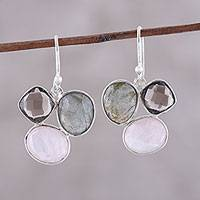 Multi-gemstone dangle earrings, 'Enchanting Trinity' - Multi-Gemstone Sterling Silver Dangle Earrings from India