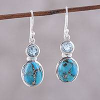 Blue topaz dangle earrings, 'Tidal Dream' - Blue Topaz and Composite Turquoise Dangle Earrings