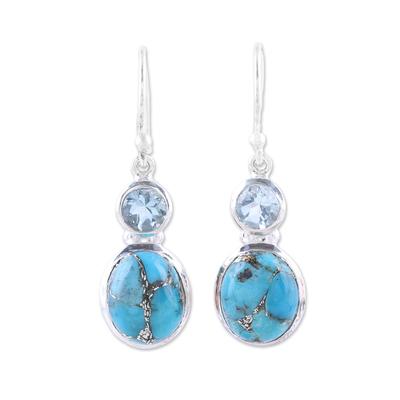 Blue topaz dangle earrings, 'Tidal Dream' - Blue Topaz and Composite Turquoise Dangle Earrings