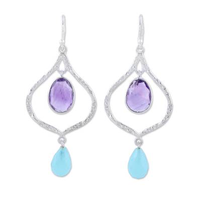 Amethyst and Chalcedony Dangle Earrings from India