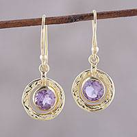 Gold plated amethyst dangle earrings, 'Glittering Lilac' - Amethyst and 18k Gold Plated Sterling Silver Dangle Earrings