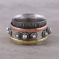 Copper and brass accented sterling silver spinner ring, 'Classic Bloom' - Handcrafted Sterling Silver Spinner Ring from India