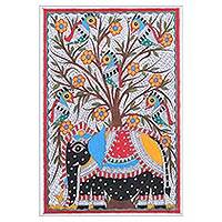 Madhubani painting, 'Royal Ambiance' - Signed Madhubani Folk Art Acrylic Elephant Painting