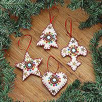 Wool ornaments, 'Christmas Charms' (set of 4) - Handmade Beaded Wool Christmas Ornaments (set of 4)