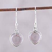 Rose quartz dangle earrings, 'Sweet Adoration' - Heart Shaped Rose Quartz Dangle Earrings from India