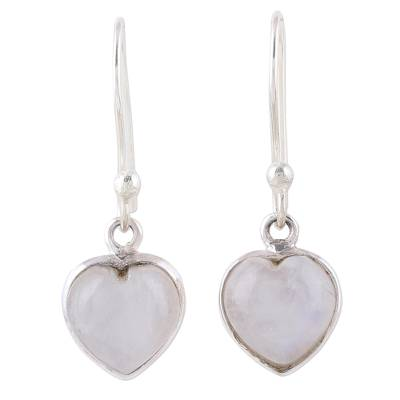 Heart Shaped Rainbow Moonstone Dangle Earrings from India