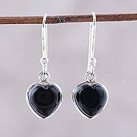 Onyx dangle earrings, 'Sweet Adoration' - Heart Shaped Onyx Dangle Earrings from India