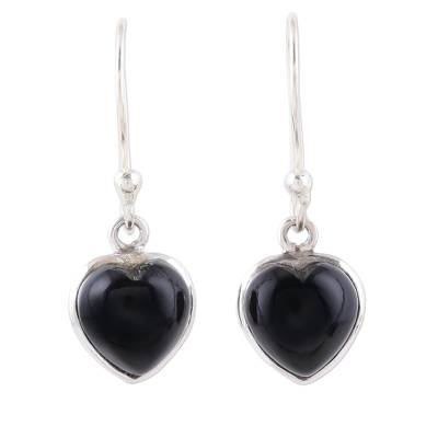 Heart Shaped Onyx Dangle Earrings from India