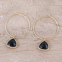 Gold plated onyx dangle hoop earrings, 'Elegant Embrace' - 18k Gold Plated Onyx Hoop Dangle Earrings from India