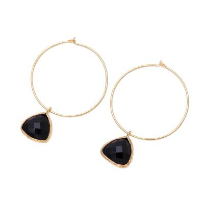 18k Gold Plated Onyx Hoop Dangle Earrings from India