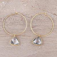 Gold plated white topaz dangle hoop earrings, 'Elegant Embrace' - 18k Gold Plated White Topaz Hoop Dangle Earrings from India