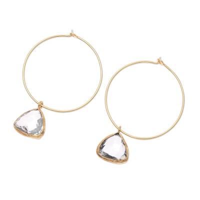 18k Gold Plated White Topaz Hoop Dangle Earrings from India