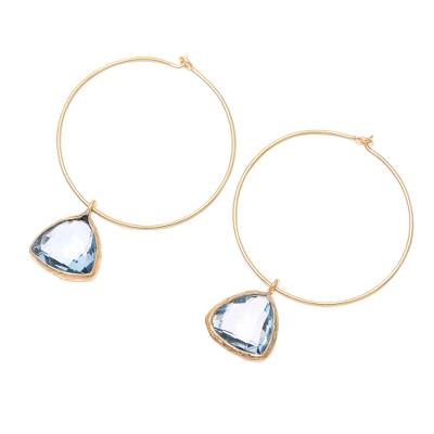 18k Gold Plated Blue Topaz Hoop Dangle Earrings from India