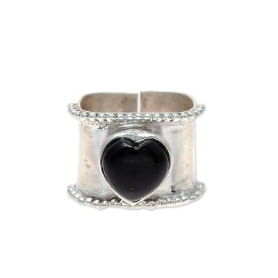 Heart-Shaped Onyx and Sterling Silver Wrap Ring from India
