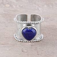 Lapis lazuli wrap ring, 'Romance Beckons' - Romantic Heart-Shaped Lapis Lazuli Wrap Ring from India