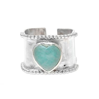 Heart-Shaped Amazonite and Sterling Silver Wrap Ring India