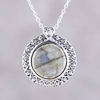 Labradorite pendant necklace, 'Love Surrounds' - India Sterling Silver and Labradorite Heart Pendant Necklace