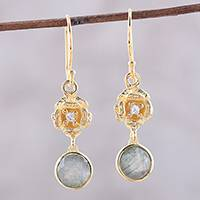 Gold plated labradorite dangle earrings, 'Gilded Flower' - Gold-Plated Labradorite and Cubic Zirconia Dangle Earrings