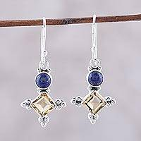Citrine and lapis lazuli dangle earrings, 'Shimmering Star' - Sterling Silver Citrine and Lapis Lazuli Dangle Earrings