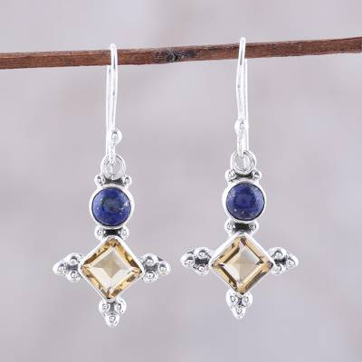 80eaa00478d Citrine and lapis lazuli dangle earrings, 'Shimmering Star' - Sterling  Silver Citrine and