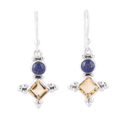 Sterling Silver Citrine and Lapis Lazuli Dangle Earrings