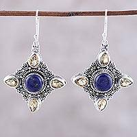Lapis lazuli and citrine dangle earrings, 'Eternal Delight' - Lapis Lazuli and Citrine Dangle Earrings from India