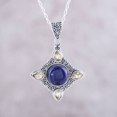 Lapis lazuli and citrine pendant necklace, 'Eternal Delight' - Citrine and Lapis Lazuli Pendant Necklace from India
