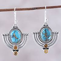 Citrine dangle earrings, 'Blue Flame' - Citrine and Blue Composite Turquoise Dangle Earrings