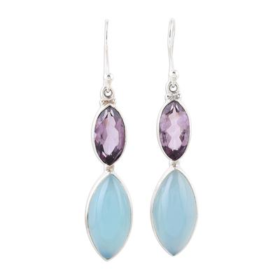 Sterling Silver Blue Chalcedony Amethyst Dangle Earrings