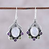 Multi-gemstone dangle earrings, 'Leaves of Glamour' - Rainbow Moonstone Peridot and Amethyst Dangle Earrings
