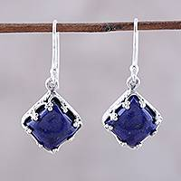 Lapis lazuli dangle earrings, 'Royal Dance' - Sterling Silver Blue Lapis Lazuli Dangle Earrings