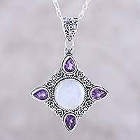 Rainbow moonstone and amethyst pendant necklace, 'Eternal Delight' - Amethyst and Rainbow Moonstone Silver Pendant Necklace