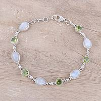 Rainbow moonstone and peridot link bracelet, 'Misty Forest' - Sterling Silver Rainbow Moonstone and Peridot Link Bracelet