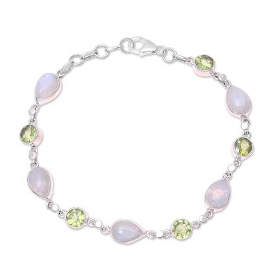 Sterling Silver Rainbow Moonstone and Peridot Link Bracelet