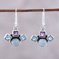 Multi-gemstone dangle earrings, 'Delightful Glow' - Blue Topaz Amethyst and Larimar Silver Dangle Earrings