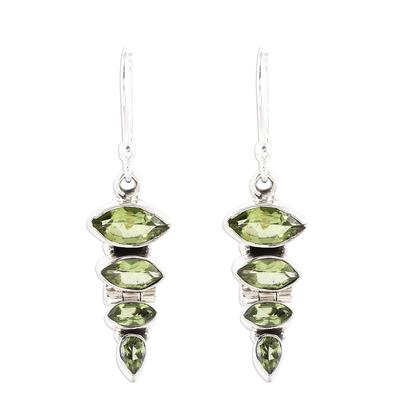 Green Peridot and Sterling Silver Descending Dangle Earrings